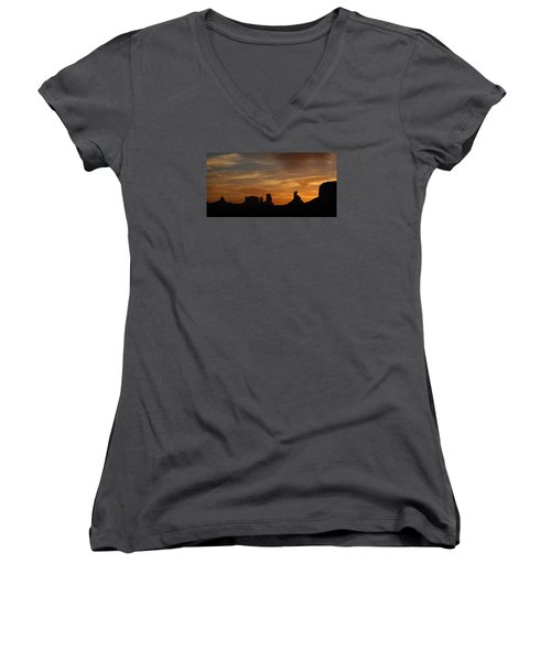 Early Sunrise Over Monument Valley Women's V-Neck (Athletic Fit)
