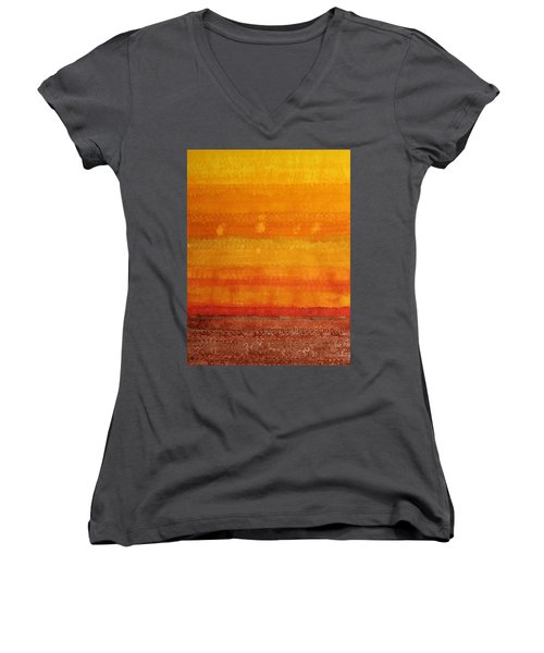 Earth And Sky Original Painting Women's V-Neck T-Shirt