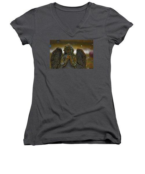Earth Angel Women's V-Neck T-Shirt (Junior Cut) by Rowana Ray