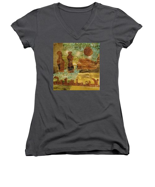 Eastern Motif Women's V-Neck T-Shirt (Junior Cut)
