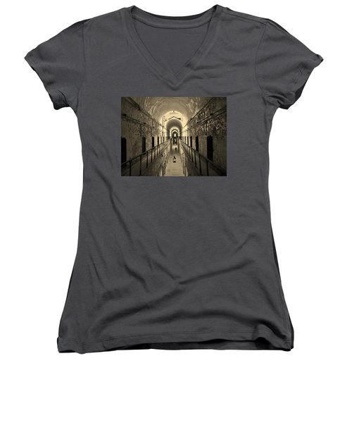 Eastern State Of Mind Women's V-Neck T-Shirt (Junior Cut) by Robert Geary