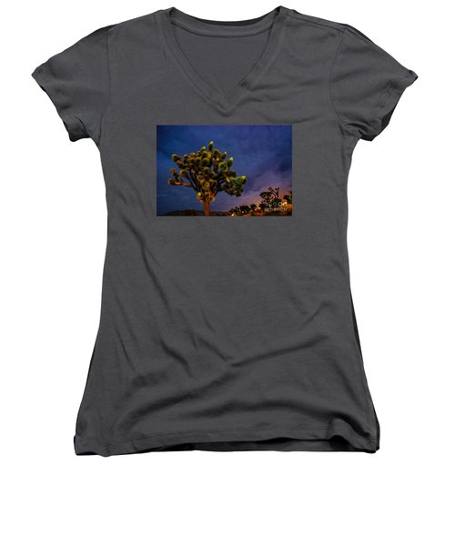 Edge Of Town Women's V-Neck T-Shirt (Junior Cut) by Angela J Wright