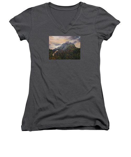 Edinburgh Castle Scotland Women's V-Neck T-Shirt