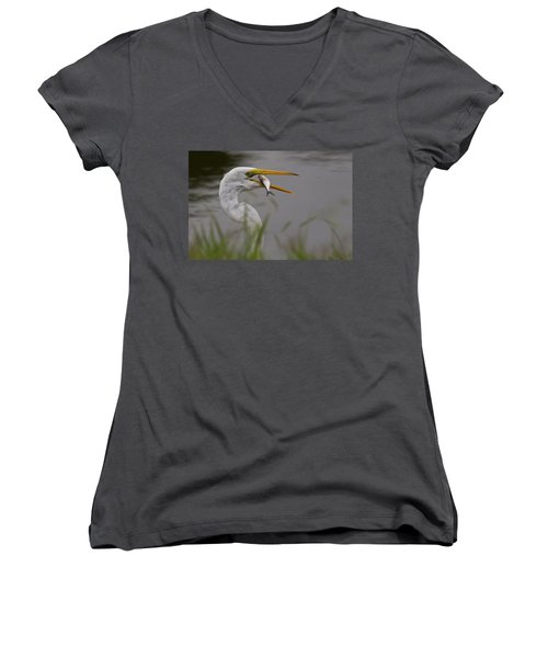 Women's V-Neck T-Shirt (Junior Cut) featuring the photograph Egret Having Lunch by Jerry Gammon