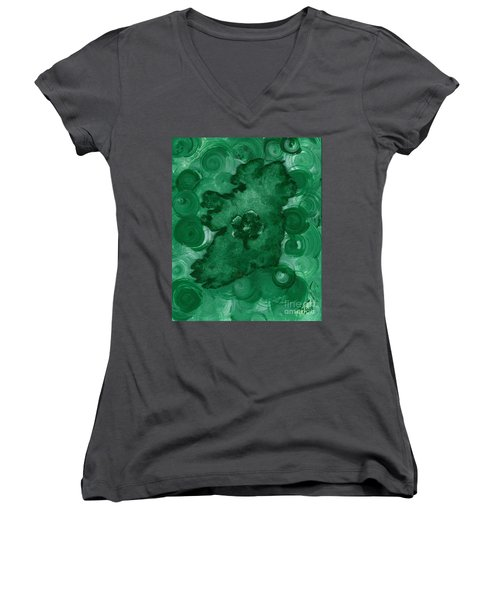 Eire Heart Of Ireland Women's V-Neck T-Shirt (Junior Cut) by Alys Caviness-Gober