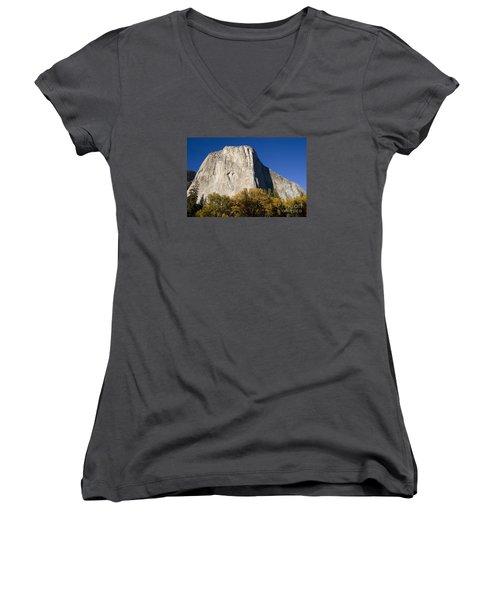 El Capitan In Yosemite National Park Women's V-Neck T-Shirt (Junior Cut) by David Millenheft