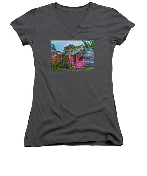 El Supermercado Women's V-Neck T-Shirt (Junior Cut) by Hanny Heim