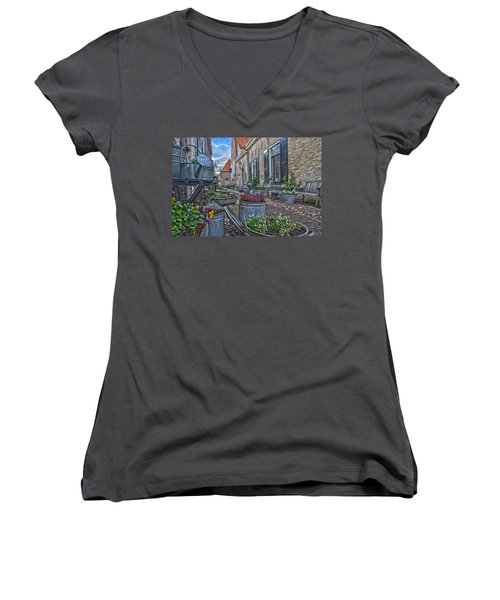 Elburg Alley Women's V-Neck T-Shirt (Junior Cut) by Frans Blok