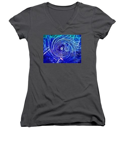 Electric Glass Light 4 Women's V-Neck T-Shirt (Junior Cut) by Todd Breitling