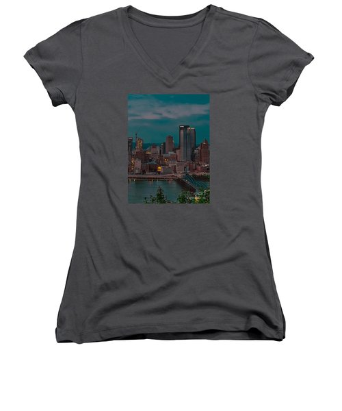 Electric Steel City Women's V-Neck T-Shirt