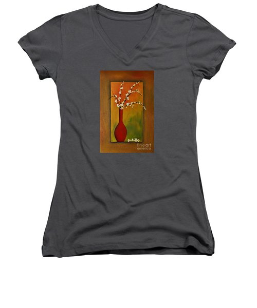 Elegant Bouquet Women's V-Neck