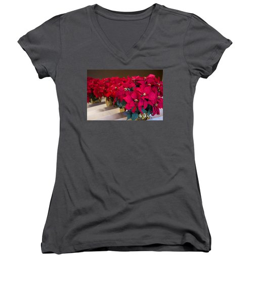 Elegant Poinsettias Women's V-Neck (Athletic Fit)
