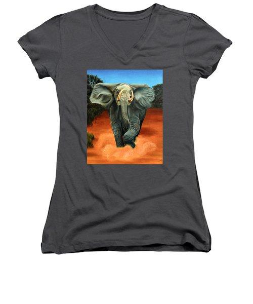 Elephant Women's V-Neck (Athletic Fit)