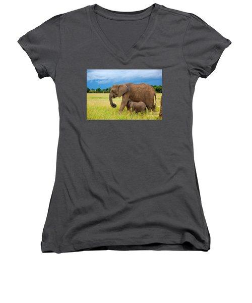 Elephants In Masai Mara Women's V-Neck T-Shirt