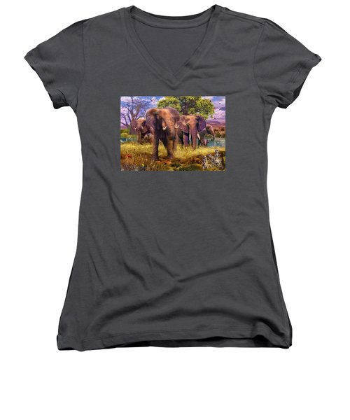 Elephants Women's V-Neck T-Shirt