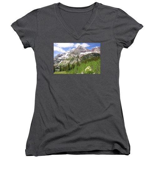 Elk Mountains Women's V-Neck T-Shirt (Junior Cut) by Eric Glaser