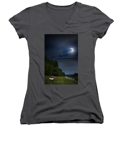 Elk Under A Full Moon Women's V-Neck (Athletic Fit)