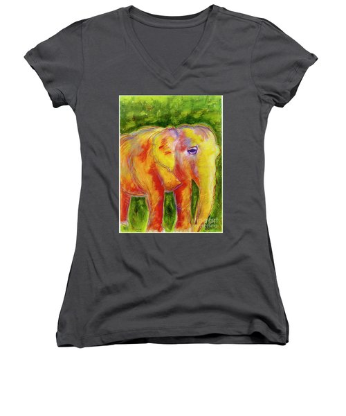 Women's V-Neck T-Shirt (Junior Cut) featuring the painting Elle by Beth Saffer
