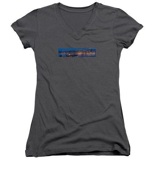 Elliott Bay Seattle Skyline Night Reflections  Women's V-Neck T-Shirt