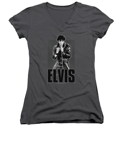Elvis - Leather Women's V-Neck T-Shirt (Junior Cut)