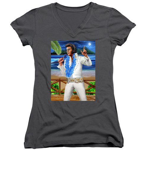 Elvis The Legend Women's V-Neck T-Shirt (Junior Cut) by Glenn Holbrook