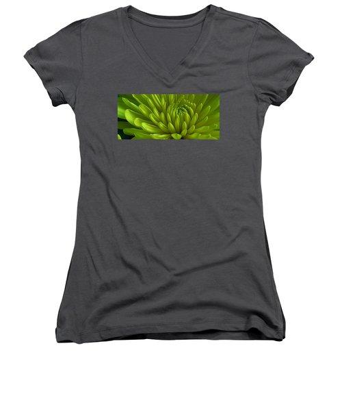 Emerald Dahlia Women's V-Neck T-Shirt (Junior Cut) by Bruce Bley