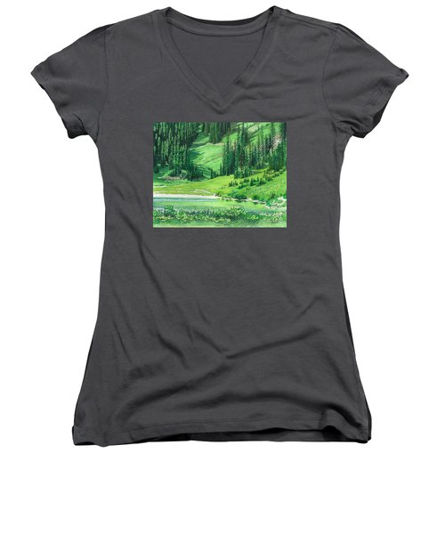 Emerald Lake Women's V-Neck T-Shirt