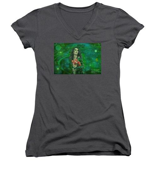 Women's V-Neck T-Shirt (Junior Cut) featuring the digital art Emerald Universe by Michael Rucker