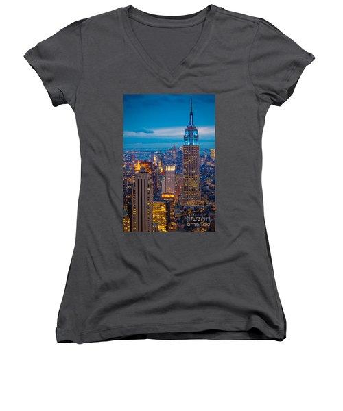 Empire State Blue Night Women's V-Neck T-Shirt (Junior Cut) by Inge Johnsson