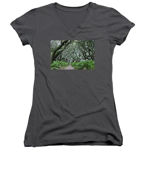 Enchanted Forest Women's V-Neck T-Shirt (Junior Cut) by Laurie Perry