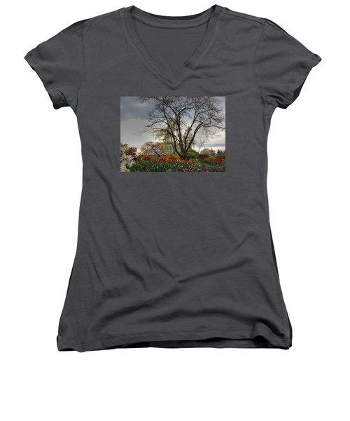 Women's V-Neck T-Shirt (Junior Cut) featuring the photograph Enchanted Garden by Eti Reid