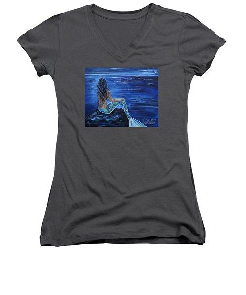 Enchanting Mermaid Women's V-Neck T-Shirt (Junior Cut) by Leslie Allen