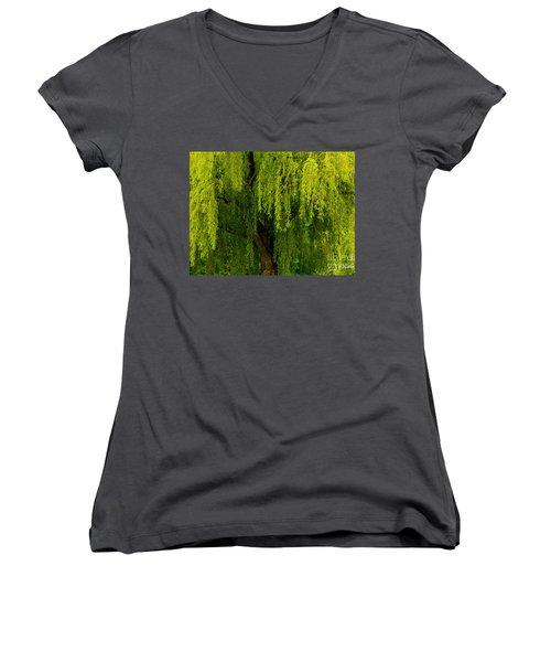 Enchanting Weeping Willow Tree  Women's V-Neck T-Shirt (Junior Cut) by Carol F Austin