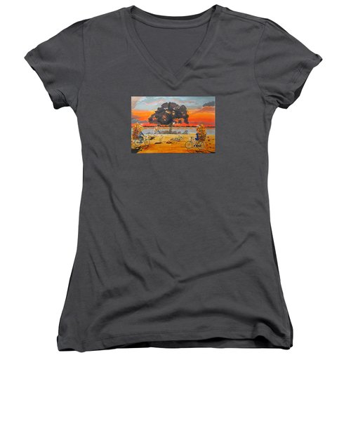 End Of Season Habits Listen With Music Of The Description Box Women's V-Neck T-Shirt
