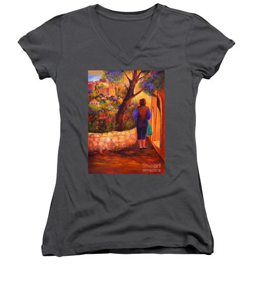End Of The Day Women's V-Neck T-Shirt (Junior Cut) by Glory Wood