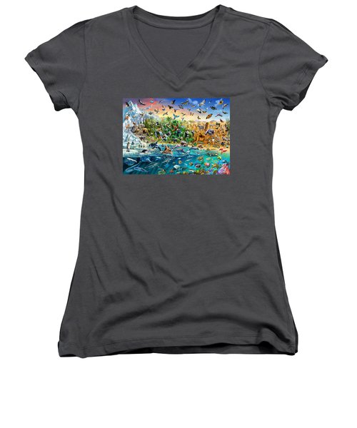 Endangered Species Women's V-Neck T-Shirt (Junior Cut) by Adrian Chesterman