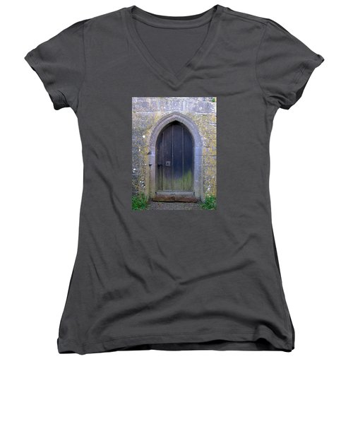 Women's V-Neck T-Shirt (Junior Cut) featuring the photograph Enter At Your Own Risk by Suzanne Oesterling