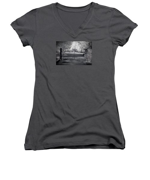 Entry To Salem Willows Women's V-Neck T-Shirt (Junior Cut) by Jeff Folger