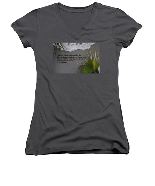 E.o. Wilson Quote Women's V-Neck T-Shirt (Junior Cut) by Kathy Barney