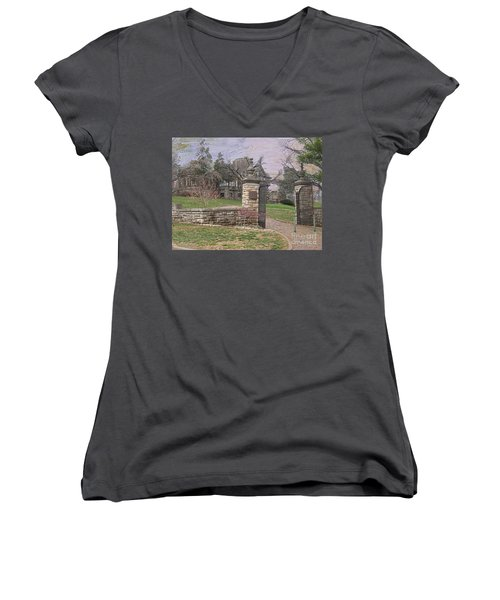 Epperson House House On The Hill Women's V-Neck T-Shirt (Junior Cut) by Liane Wright