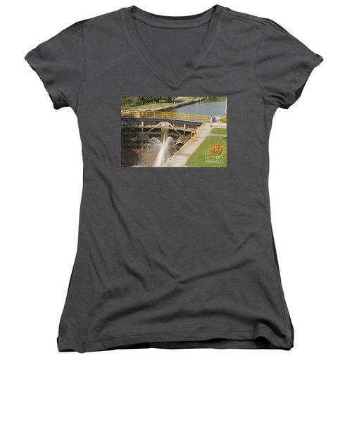 Women's V-Neck T-Shirt (Junior Cut) featuring the photograph Erie Canal Lock by William Norton