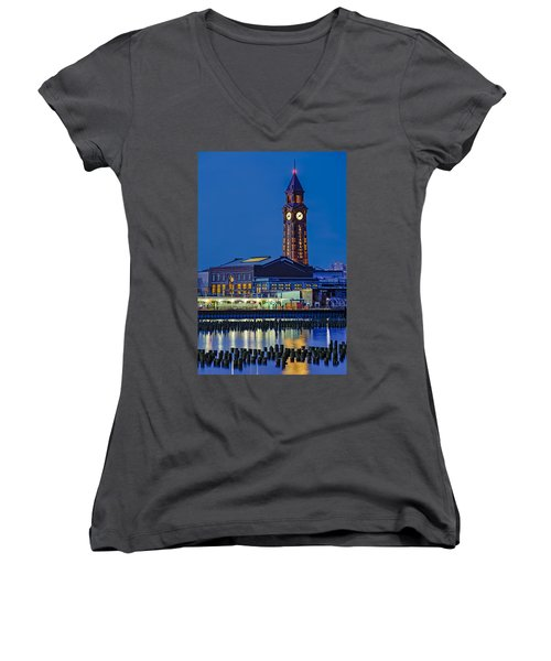 Erie Lackawanna Terminal Hoboken Women's V-Neck