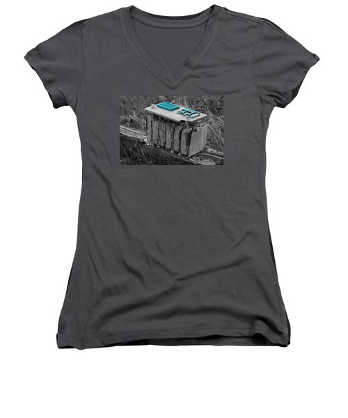 Eroding Battery Women's V-Neck (Athletic Fit)
