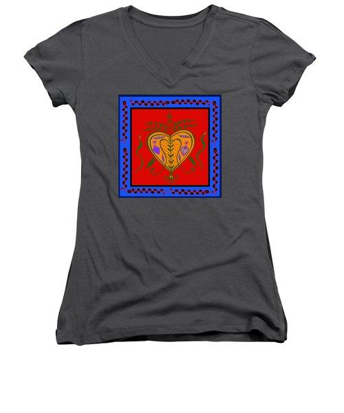 Women's V-Neck T-Shirt (Junior Cut) featuring the digital art Erzulie Freda by Vagabond Folk Art - Virginia Vivier