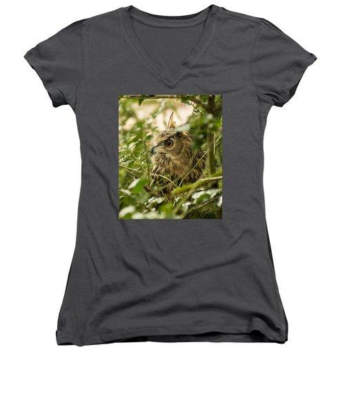 Eurasian Eagle-owl 2 Women's V-Neck (Athletic Fit)