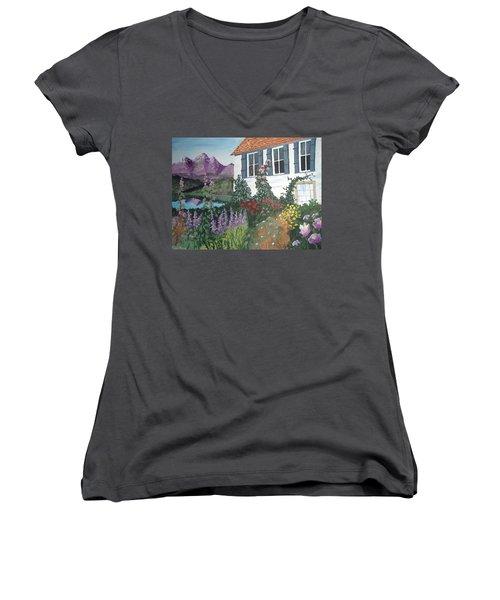 Women's V-Neck T-Shirt (Junior Cut) featuring the painting European Flower Garden by Norm Starks