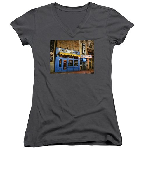 Women's V-Neck T-Shirt (Junior Cut) featuring the photograph Eva's Bakery  by Ely Arsha