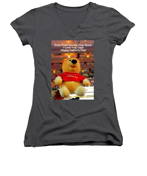 Even Pooh Knows Card Women's V-Neck T-Shirt