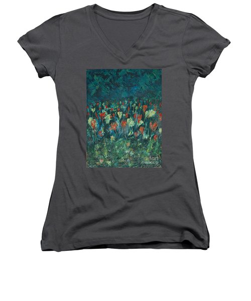 Women's V-Neck T-Shirt (Junior Cut) featuring the painting Evening Buds by Mini Arora