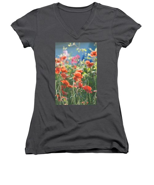 Evening Lights The Poppies Women's V-Neck T-Shirt